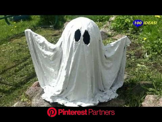 ???? Amazing Idea For Garden : ????ghost made of cement and fabric! - YouTube | Ghost diy, Halloween yard decorations, Cement