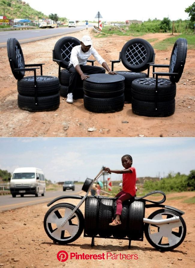 Former Mineworker Creates Recycled Tire Furniture | Tire furniture, Garage furniture, Tyres recycle