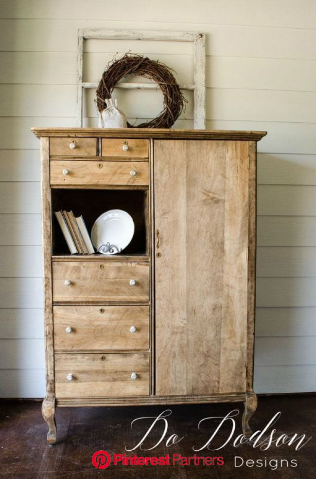 Raw Wood Furniture Farmhouse Style Armoire Makeover | Raw wood furniture, Diy furniture, Armoire makeover