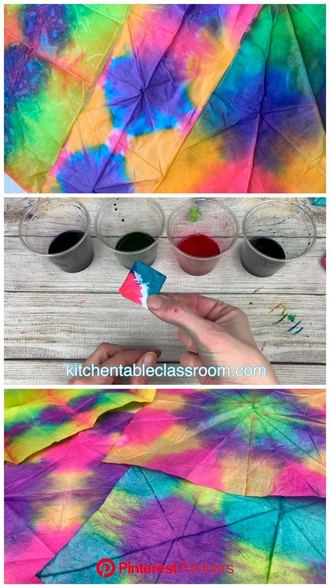 Tie Dye with Tissue Paper- Easy, Brilliant, Beautiful [Video] | Art for kids, Crafts for kids, Preschool art