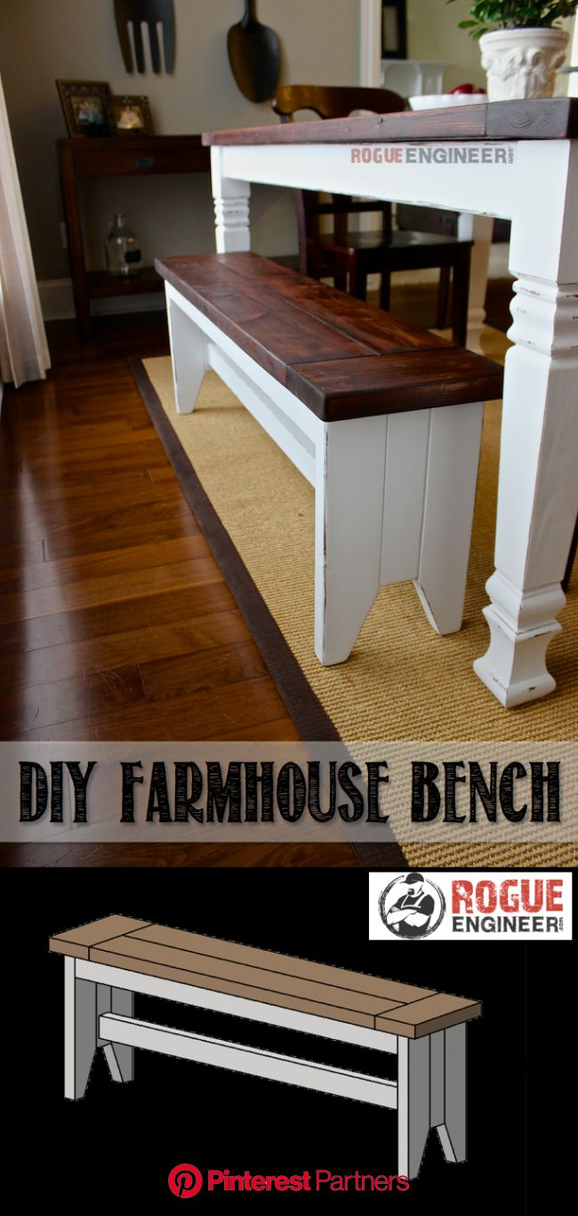Farmhouse Bench (With images) | Farmhouse bench diy, Farmhouse bench plans, Farmhouse bench