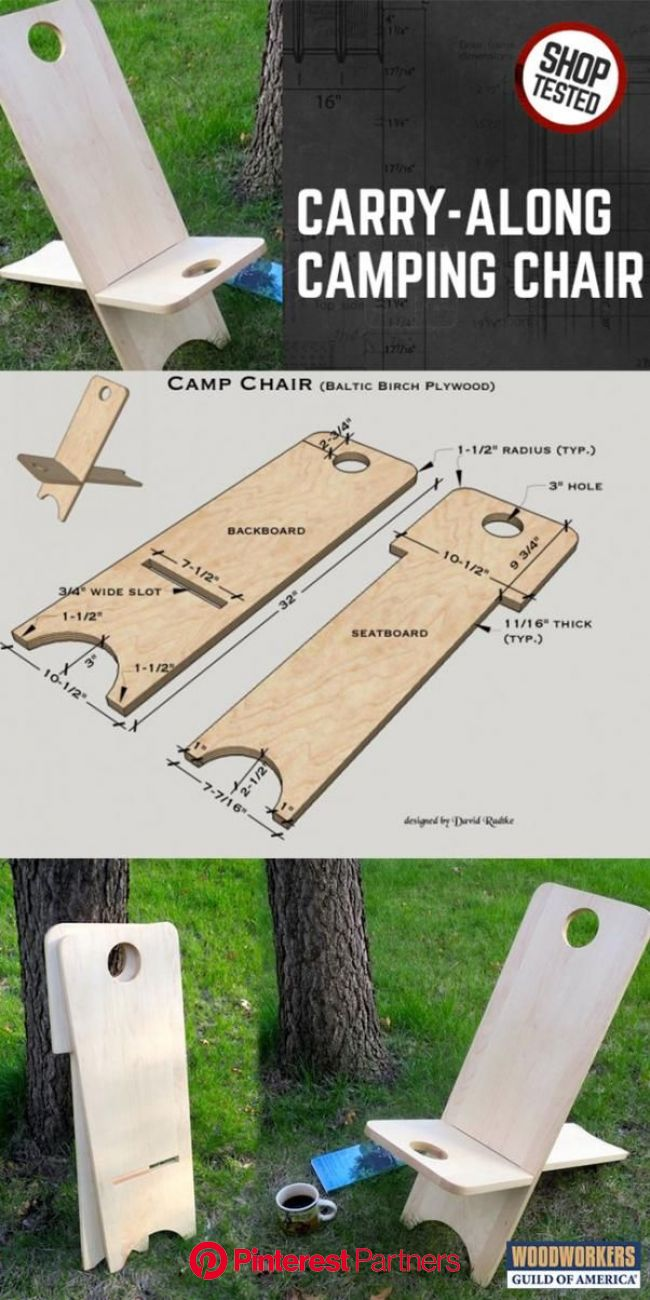 Carry-along Wooden Camping Chair | Camping chair, Woodworking projects diy, Woodworking tips