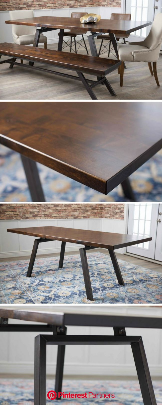 Introducing the Fulton Modern Industrial Table from James+James Furniture. A modern, industrial dining table with steel legs and a random board width,