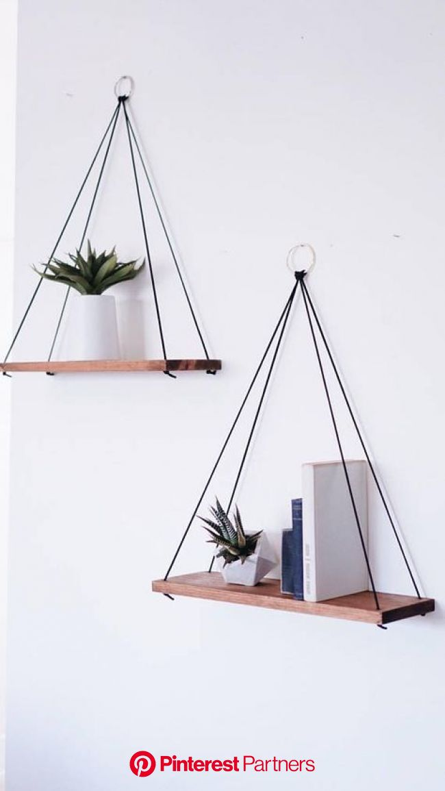 Hanging Shelves / Set of 2 Large Shelves / Floating Shelves / Swing Shelves | Diy hanging shelves, Handmade home decor, Cute room decor