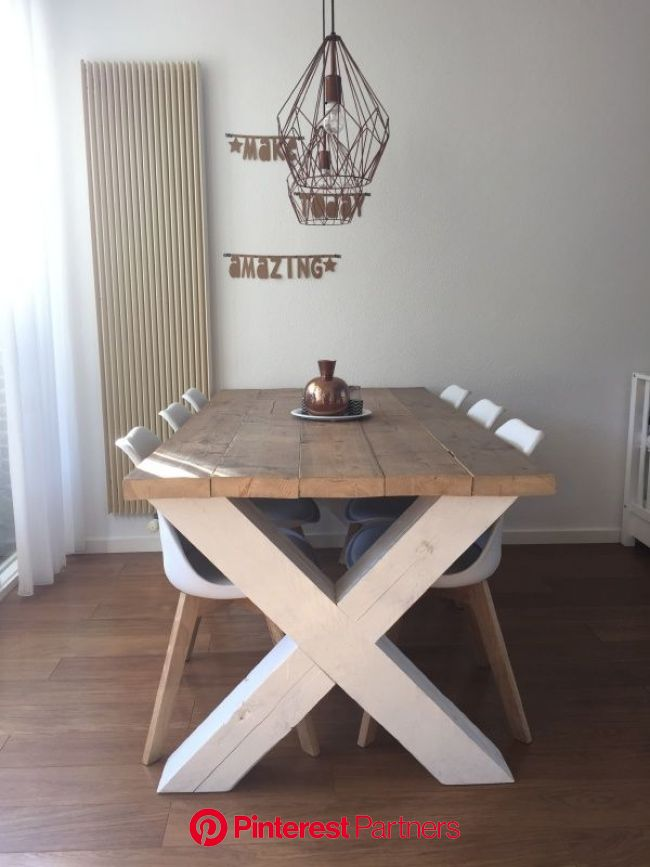 Steigerhouten tafel kruispoot Vincent | Tafel kruispoot, Kamer decoratie, Ideeën voor thuisdecoratie