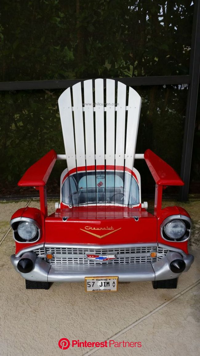 1957 Chevy. A sample of my custom automotive artwork, perfect for unique gifts.www.philcurren.com | Painted chairs, Automotive furniture, Car furnitur