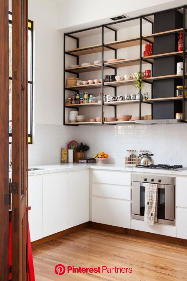 Free up Some Space With These Open Kitchen Shelving Ideas in 2020 | Interior design kitchen, Kitchen design, Diy kitchen shelves
