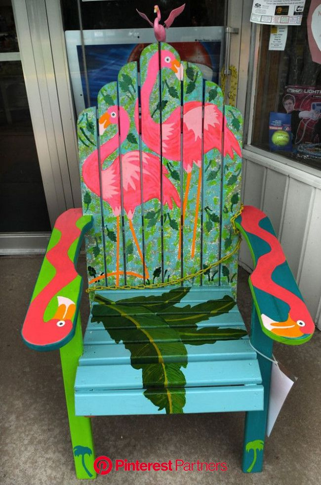 ". A chair titled ""Margaritaville\"" by Rick Skare sits outside of Chisago Drug.. (Pioneer Press: Jean Pieri) 