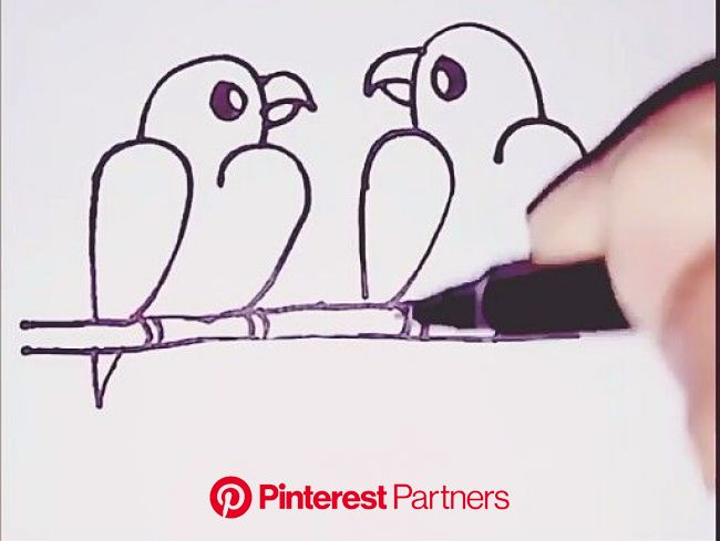 #draw #bird #love #numbers [Video] | Art drawings for kids, Easy drawings, Pencil art drawings