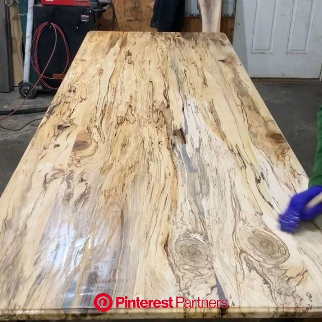 Oiling a spalted hackberry farmhouse table. Rubio Monocoat Pure. [Video] | Wood table rustic, Rustic dining room table, Rustic farmhouse table