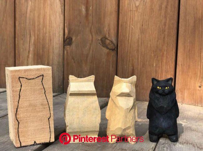 Woodcarving | Резьба по дереву | Кошачьи поделки, Простые деревянные поделки, Скульптуры животных