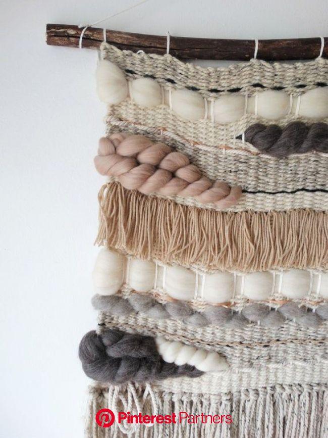 "Woven Wall Hanging, Macrame Wall Hanging, Textile fiber art, ""Lake Shore Trio"" | Yarn wall art, Woven wall hanging, Woven wall hanging tutor"