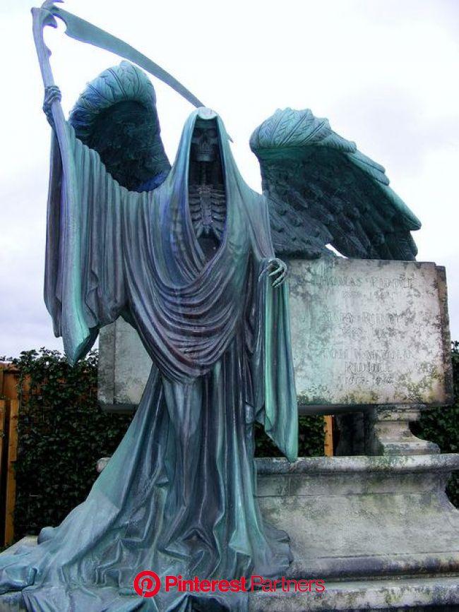 The Riddle family's gravestone | Cemetery art, Cemetery statues, Reaper statue