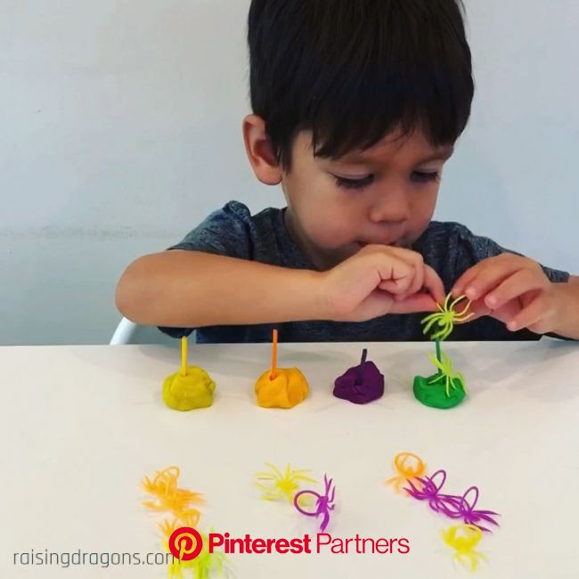 Stacking Spiders Color Sorting Activity * ages 2-5 ⋆ Raising Dragons [Video] [Video] | Toddler activities, Color sorting activities, Infant activities