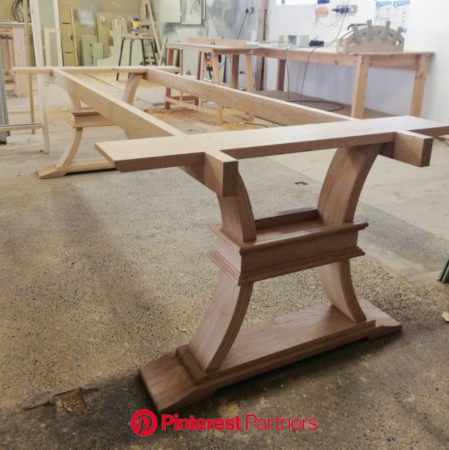 Solid oak dining table base I made, ready for finishing! : woodworking   Solid oak dining table, Oak dining table, Dining table