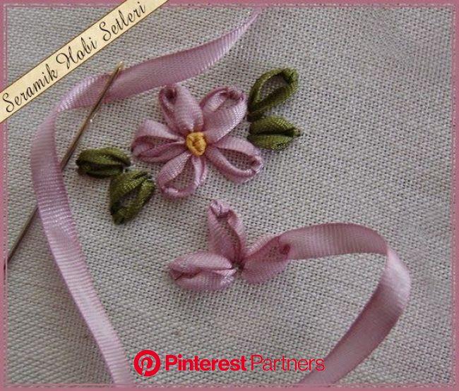 Como fazer a folha e flor de bordado com fita passo a passo | Flores de bordados, Bordado em fita, Diy flores de tecido