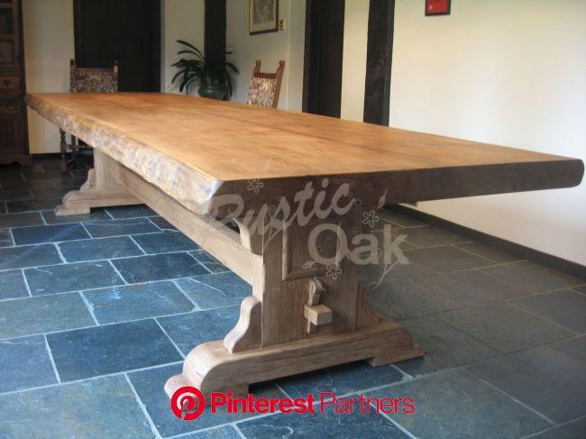 Rustic Oak - bespoke refectory table - waney edges   Handmade oak dining table, Rustic dining room, Oak dining table