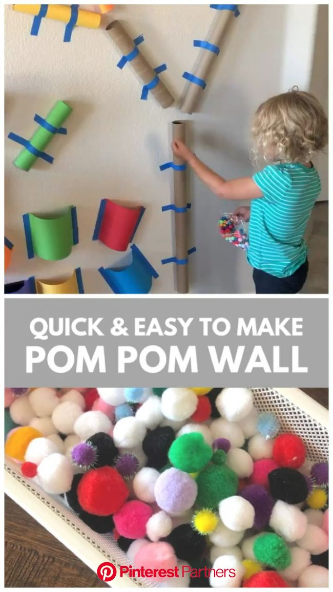 Quick & Easy to Make Pom Pom Wall - Toddler Approved [Video] [Video] in 2020 | Toddler fine motor activities, Toddler activities, Toddler learning