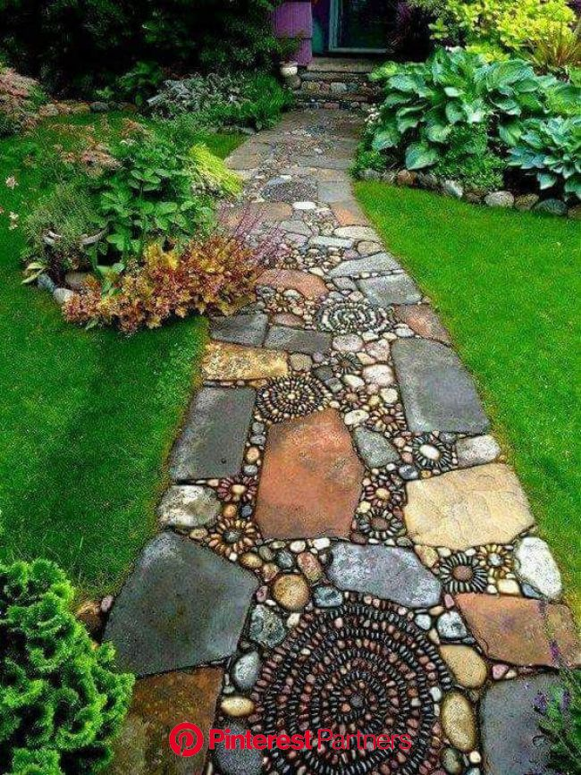 When your husband wants to just throw down a few flagstones as a walkway, show him this. | Rock garden landscaping, Mosaic walkway, Garden paths