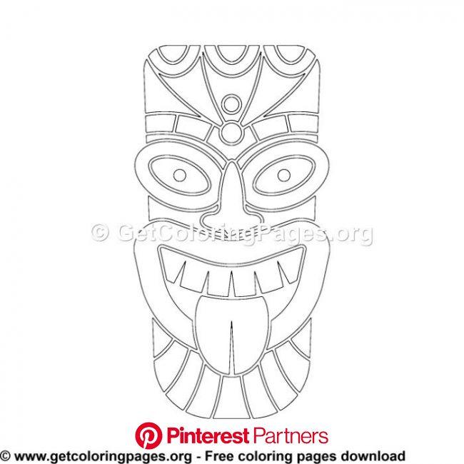 Tiki Mask 1 Coloring Pages | Tiki mask, Coloring pages, Free stencils