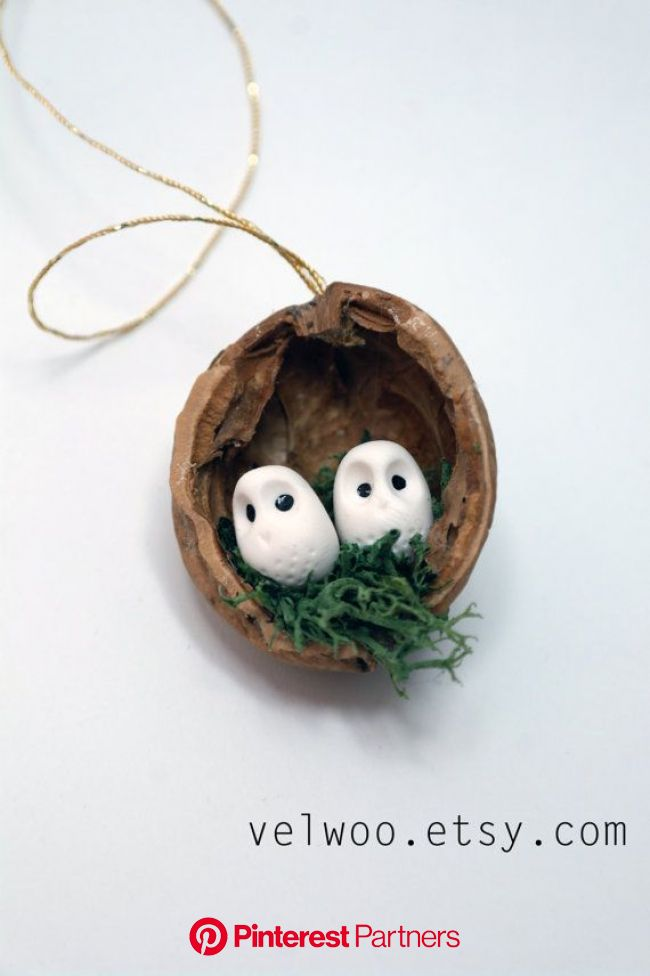 Owl woodland ornaments walnut shell ornaments Nature Gift Tags   Etsy in 2021   Rustic christmas ornaments, Christmas decorations rustic, Woodland orn